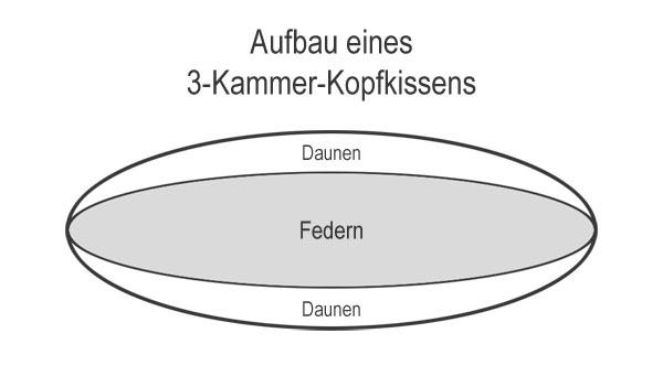 Aufbau 3 Kammer Kopfkissen aus Daunen und Federn